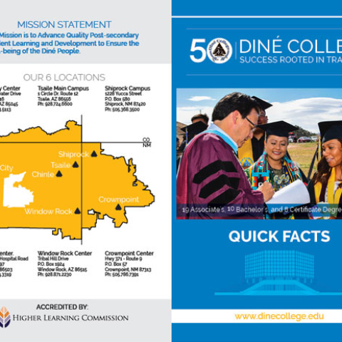 Diné College Recruitment - 2018/19(updated) Quick Facts Outside Fold Brochure
