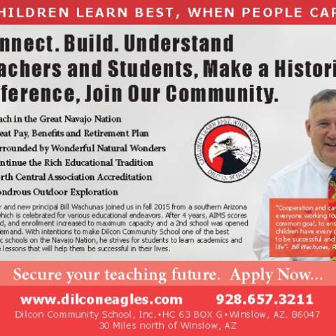 Dilcon Community School Navajo Times Half-Page Advertisement