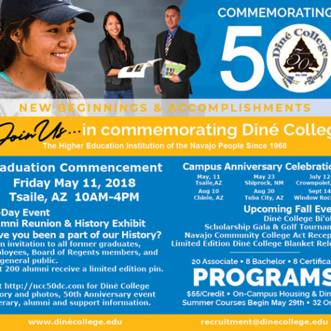Diné College 50th Anniversary Celebration - Navajo Times Half-page Spring 2018 Advertisement
