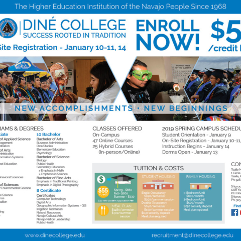 Diné College Recruitment - Navajo Times half-page Spring 2019 Advertisement