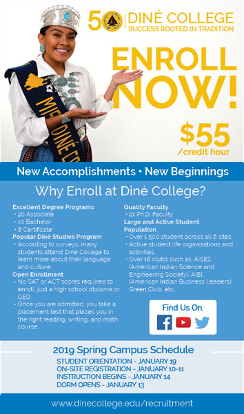 Diné College Recruitment - Navajo Times Fall 2018 Advertisement