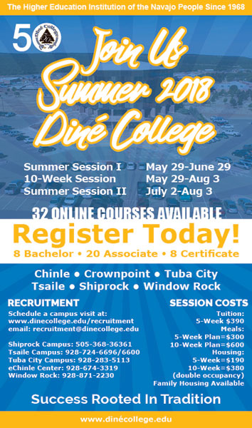 Diné College Recruitment - Navajo Times Summer 2018 Advertisement