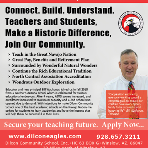 Dilcon Community School Yuma Gold Sixteenth-Page Advertisement