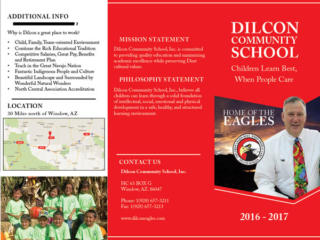 Dilcon Community School Brochure Outside Fold
